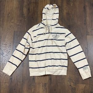 Mickey Mouse striped zip-up hoodie sweatshirt